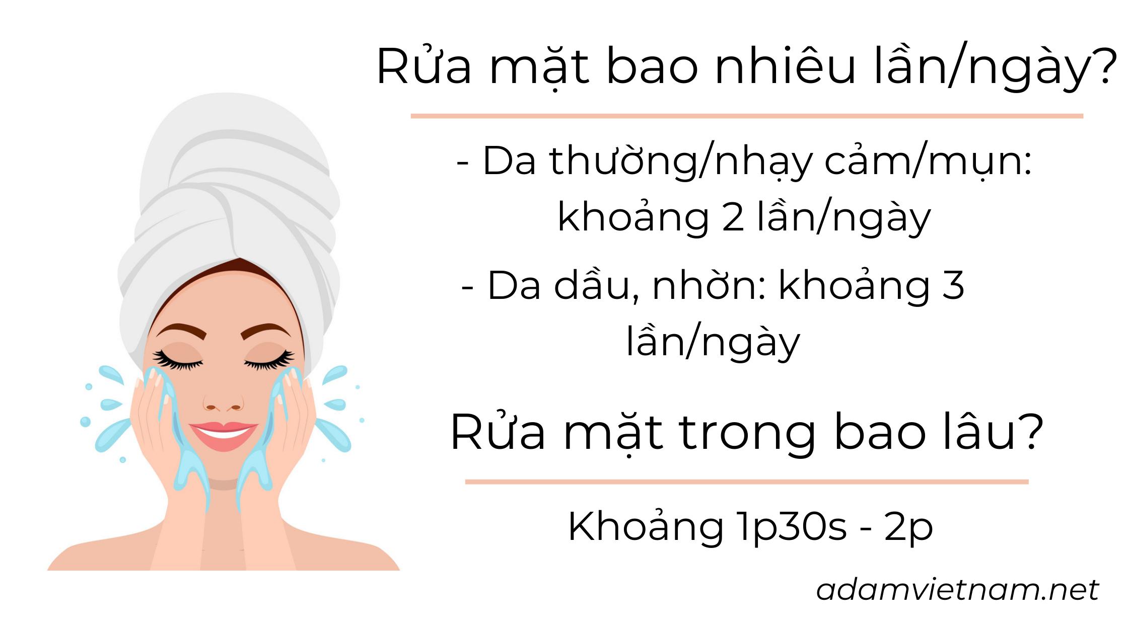 rửa mặt bao nhiêu lần 1 ngày