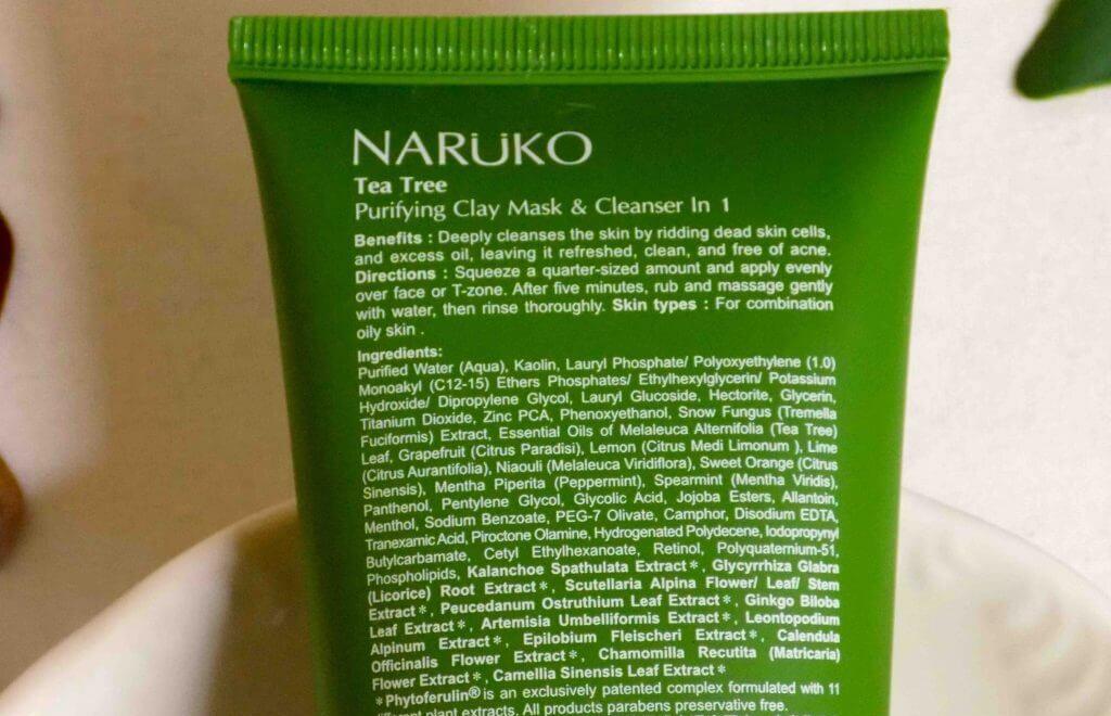 thành phần sữa rửa mặt naruko tràm trà